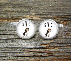 Dog Beagle Monogram Cufflinks-Wedding-Jewelry…