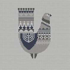 Danish Bird Cross Stitch Pattern PDF Pillow by WallflowerCushions, $5.00: