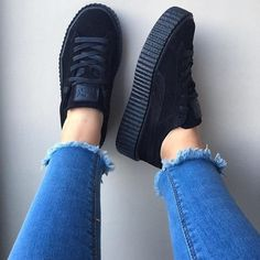 Rihanna all black creepers  Rihanna all black creepers  Puma Shoes I want a pair of these for Christmas! #socute