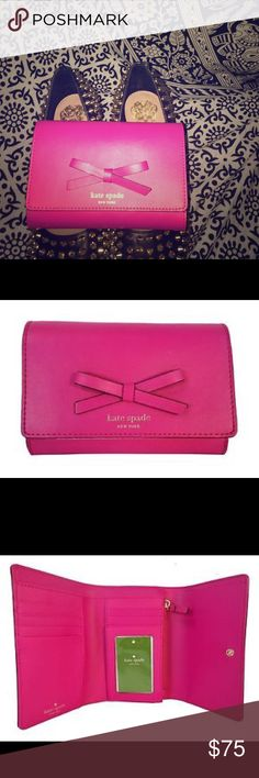 ♠️ Kate Spade Callie Sawyer Street Leather Wallet Gently Used | Color:  Snapdragon Pink | Smooth Leather Exterior With Bow Detail At Front | Kate Spade New York Signature At Front In Gold | Bifold Snap Closure | Exterior Slide Pocket | Interior Zippered Pocket | One Large Interior Pocket For Bills | Three Small Interior Slide Pockets | Six Credit Card Pockets | One Clear Id Pocket | Dimensions : 6 (L) x 4 (H) x 2 (D) kate spade Bags Wallets