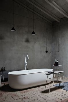 Minimal, dark bathroom