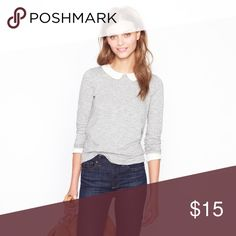 J. Crew Grey Top w/White Peter Pan Collar, size L like new (worn twice), zips up the back J. Crew Tops Blouses