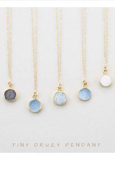 Tiny Round Druzy Pendant Necklace | Etsy | Affiliate