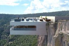 On the Edge: A Cantilevered Restaurant Overhangs Mexico's Copper Canyon - Arch. - nikita punk - - On the Edge: A Cantilevered Restaurant Overhangs Mexico's Copper Canyon - Arch. Cantilever Architecture, Architecture Design, Amazing Architecture, Contemporary Architecture, Cliff House, Glass Floor, Modern House Design, Villa Design, Roof Design