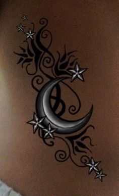 Awesome Tribal Tattoo Designs For Women : Tribal Moon Tattoo Women Vine Tattoos, Mom Tattoos, Body Art Tattoos, Small Tattoos, Tattoos For Guys, Tattos, Star Foot Tattoos, Tribal Art Tattoos, Ladies Tattoos