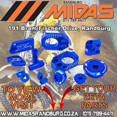Pimp your dirt bike with original Zeta accessories and parts, available from Randburg Midas on request. Motocross, Japan, Motorbikes, Offroad, Accessories, Website, Instagram, Link, Off Road