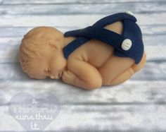 Items similar to Polymer Clay Sleeping Baby - Polymer Clay Baby - Baby Shower - Cake Topper - Fairy Garden Baby - Fairy Garden - Miniature Garden on Etsy Baby Shower Cake Pops, Baby Shower Cakes For Boys, Baby Boy Shower, Baby Boy Cake Topper, Baby Boy Cakes, Fondant Cake Toppers, Fondant Baby, Baby Shower Decorations Neutral, Baby Mold