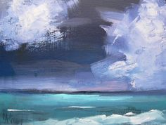 "Daily Painting, Original Seascape, Storm Painting, ""Off Shore Storm"" 6x8 Original Oil Painting"