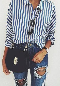A striped blouse and ripped skinny jeans
