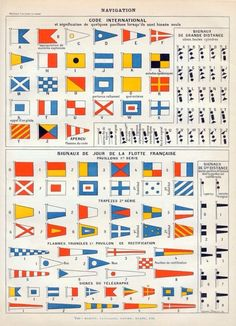 antique French chromolithograph of naval signal flags Nautical Flags, Nautical Theme, Nautical Quotes, Flag Code, Navy Walls, Antique Prints, French Antiques, Signs, Sailing