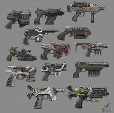 Blaisoid - Sci-fi gun concepts -     More of  Blaisoid concepts, a very nice old style of art and more interesting designs. This time focusing more on hand guns.(polycount, 2012)
