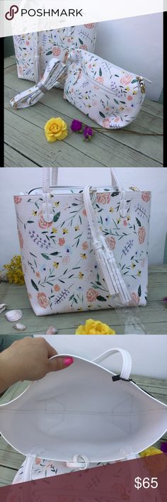 Floral summer bag NWT Brand new faux leather bag set . This measures 14'wX11't Bags Shoulder Bags