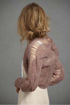 Cable Knit Shrug - Knitting is Awesome Knitwear Fashion, Knit Fashion, Vintage Inspired Wedding Dresses, Knit Shrug, Knitting Designs, Cable Knit, Casual, Creations, Stylish