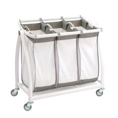 Best Heavy Duty Laundry Sorter Cart for the Money. Top rated brands such as Decobros, Seville Classics, Whitmor and others. 3 or 4 bin laundry sorters with or without the hanging bar. Makes laundry day to much easier! Laundry Cart, Laundry Room Storage, Laundry Room Design, Laundry Hamper, Storage Room, Laundry Rooms, Laundry Basket Sorter, Laundry Organizer, Laundry Bin