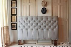 Incredible Diamond Tufted Headboard Tutorial using for my chairs! Diy Tufted Headboard, Headboards For Beds, Farmhouse Headboards, Trendy Furniture, Diy Furniture, Furniture Design, Master Bedroom Makeover, Furniture Makeover, Diy Design