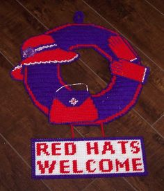 Red Hat Welcome Wreath Door/Wall Hanging made in Plastic Canvas