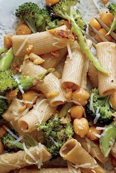 Rigatoni with roasted broccoli and chick peas and Romano cheese