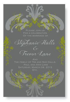 Green and Gray Wedding Invitation  By paper 4 two
