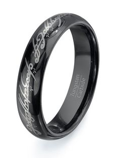 Lord of the Rings Black Tungsten Ring Wedding band - HIGH QUALITY Mens Tungsten Carbide on Etsy, $95.99 Men's? Who says this has to be a mans ring? I'd wear it proudly and people would be like that's a totally bad ass ring