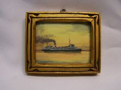 W M Mitchell Water Color Miniature Picture of s s Hamonic Hand Carved Frame