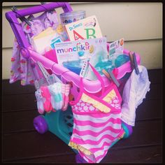 baby shower gift ideas   Step 1) Buy a stroller, a shopping cart, a wagon, or something along ...