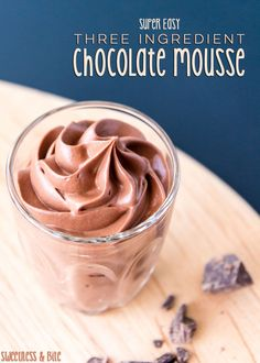 Super Easy, 3 Ingredient Chocolate Mousse. No eggs, no fuss. Just a bit of heating, a bit of chilling and some whipping. ~ Sweetness and Bite