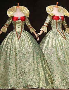 classico vittoriano reali medio lunghi abiti partito steampunk®high-end personalizzati maniche lunghe in raso verde