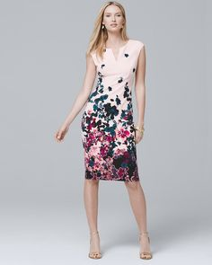 5a0ba471dc Women's Sleeveless Floral Printed Sheath Dress by White House Black Market  Office Fashion, Business Fashion