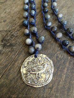 "Crochet Necklace Sterling Silver Bird Pendant Moonstone ""Boho Chic"". $30.00, via Etsy."