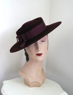 924fa20f39d Vintage FRANK OLIVE Label Plum Wool Felt Hat by adelinesattic