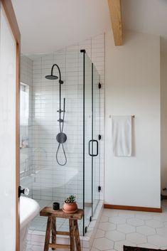 modern bathroom with white hexagon floor tile. / sfgirlbybay