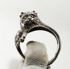 Sterling Silver Wrap Around Cat with Emerald by HeirloomSilver, $65.00