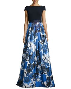 Theia Floral-Print Cap-Sleeve Gown, Navy/Cobalt