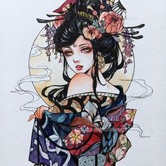 Margaret Morales is a visual designer, painter and watercolor artist from Philippines. Art Sketches, Art Drawings, Geisha Art, Japon Illustration, Witch Art, Pretty Art, Aesthetic Art, Traditional Art, Asian Art
