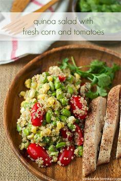 Quinoa salad with fresh corn and tomatoes | www.yankeekitchenninja.com