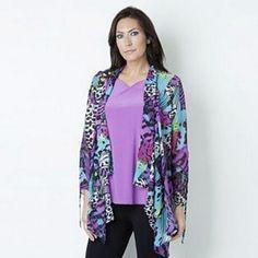 *NEW ITEM* Antthony Printed Chiffon Cardigan [Multi-Purple, Large]