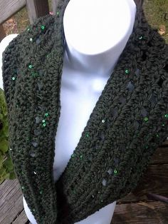 Infinity ScarfGreen SequinsDark Green by PunkinPatchApparel, $15.00