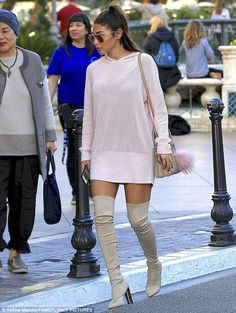 Pretty in pink: Chantel Jeffries rocked a short pink hoodie Wednesday while shopping at an outdoor mall in Los Angeles
