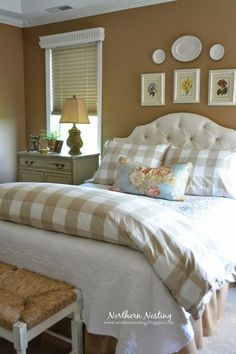 Dark paint walls - creamy bed linens
