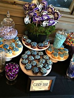 Lovely desserts at a Tim Burton bridal shower party! See more party planning ideas at CatchMyParty.com!