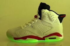 805cf1673b1b4e Nike Air Jordan 6 Rouge Blanc Vert Soir Retro Chaussures