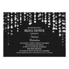string lights modern bridal shower invitations