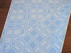 Handwoven Table Runner Delph Blue by LindaHighHandweaver on Etsy