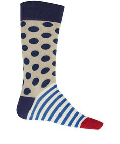 Paul Smith Accessories White Polka Dot and Stripe Ankle Socks .