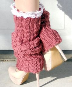 Thigh high dusty rose lace ribbed crochet dance trendy leg warmers for Valentines day