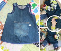 jean dress made from old jeans Baby Dress Patterns, Sewing Patterns Girls, Baby Sewing Projects, Sewing For Kids, Baby Kids Clothes, Diy Clothes, Mode Jeans, Baby Couture, Kids Frocks