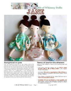 Free sewing pattern for plush doll - Jane
