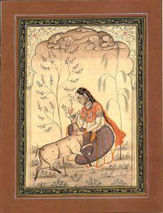 Todi Ragini Miniature Art Indian Rajasthani Ethnic Handmade Ragamala Painting