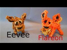 Eevee and Flareon Pokemon - Rainbow Loom Charms