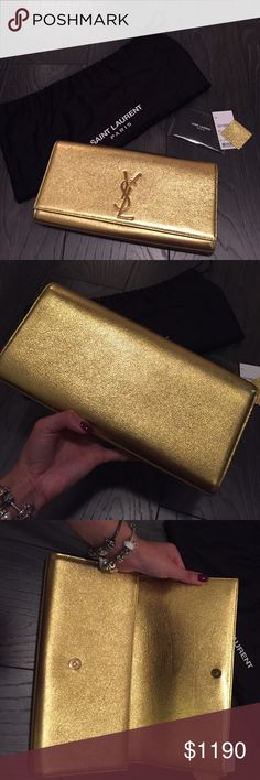 YSL Cassandre Clutch in Gold Used in brand new like condition. I wore it for New Years for a couple hours Yves Saint Laurent Bags Clutches & Wristlets